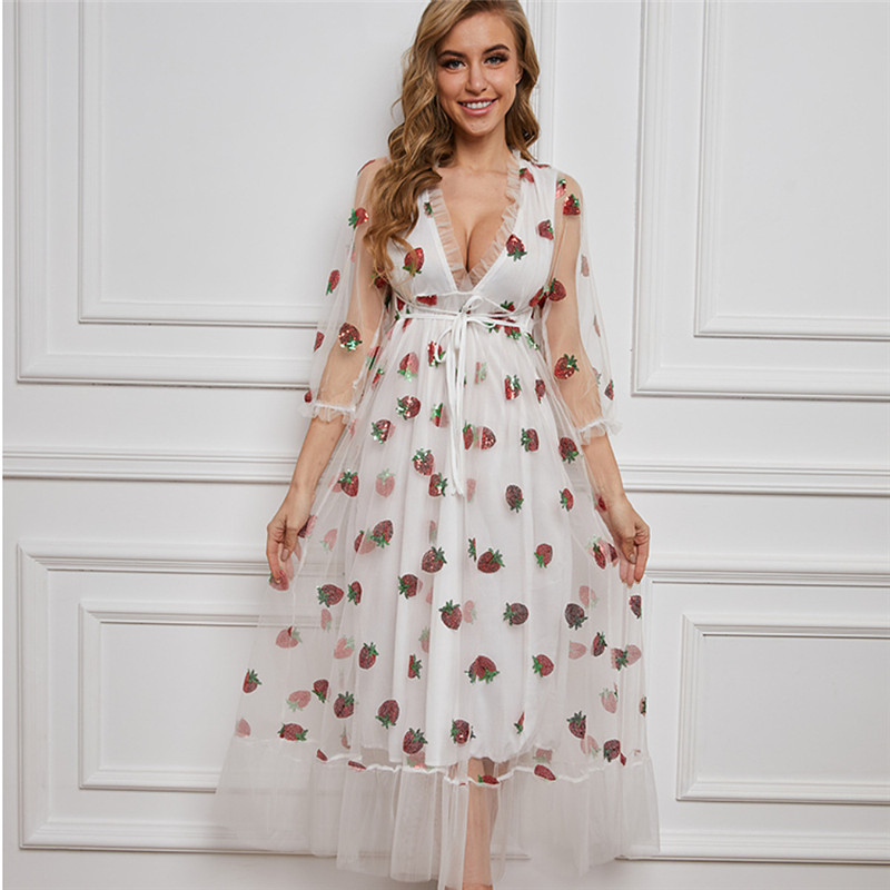 Stock 2021 Strawberry Dress Women Fashion Deep V Pleated Puff Sleeve Sweet Voile Mesh Sequins Embroidery French Party Dresses 12