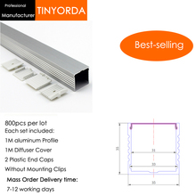 Tinyorda 800Pcs (1M Length) Led Alu Profile  Channel Profil for 30mm LED Strip Light 1M channel