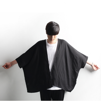 Dark Fashion Men's linen Cardigan Cape Cape Cape Cape Cape Bat sleeveless shirt trend фото