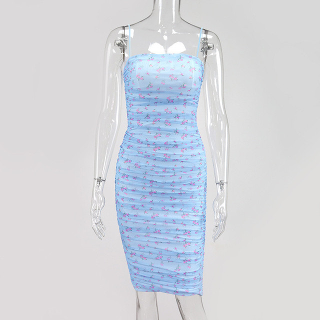 Yimunancy Floral Print Spaghetti Strap Dress Women Bodycon Dress 2020 Ladies Summer Zipper Sexy Party Dress Robes 5