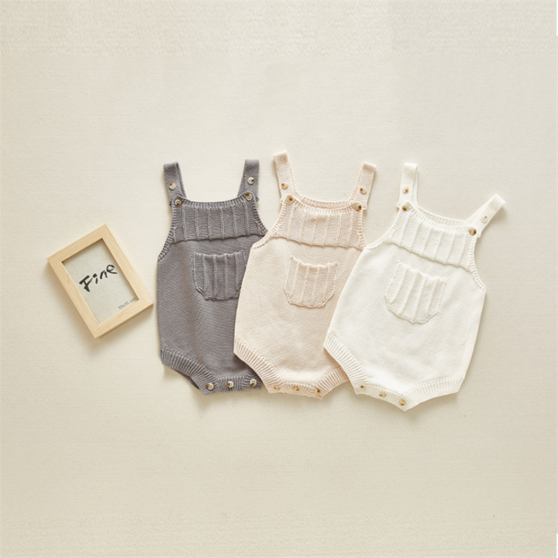 Newborn Baby Romper Jumpsuit Sleeveless Knitting Baby Boy Girl Romper Infant Jumpsuit Cotton Toddler Clothes Romper Overalls