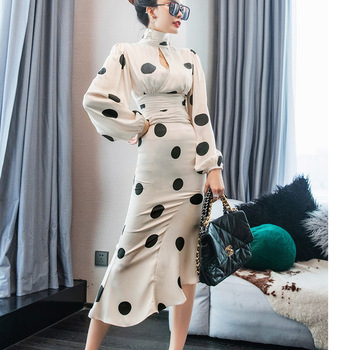 2020 New Dress Outfit Spring Lady Polka Dot Skirt Fashion Two-Piece Womens