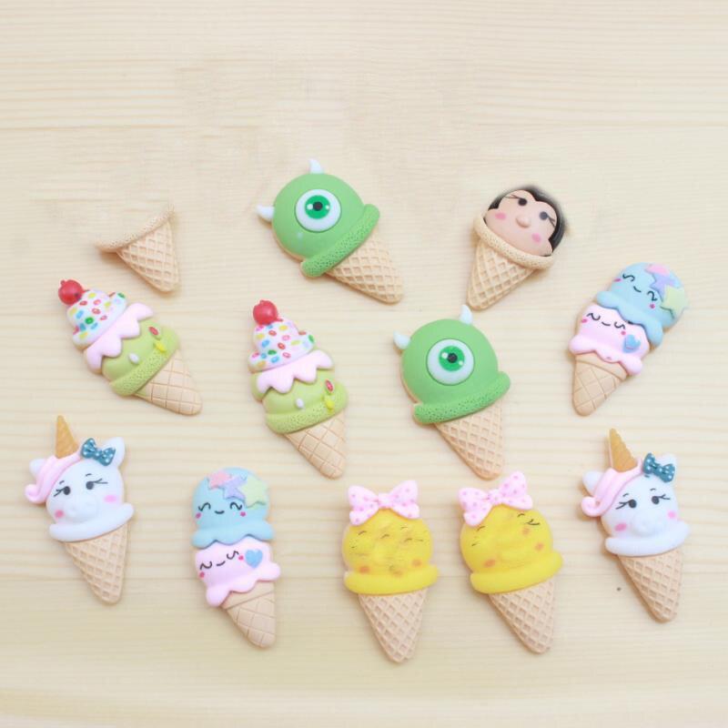 10 Pcs/lot Cute Cartoon DIY Patch Simulated Ice Cream Figurine Crafts Phone Case Storage Box Accessories Kids Craft Toy
