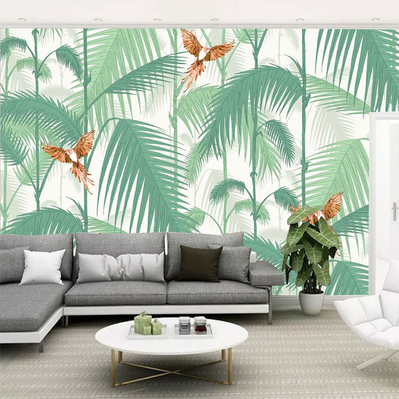 Customize The Murals Pastoral Style Plant Birds Leaf Cartoon Wallpaper Living Room Bedroom Simple Cool TV Background Wallpaper