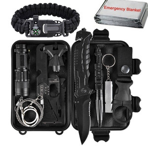 Outdoor Survival Kit Set,11 In 1 Camping Hiking Tactical Gear Emergency SOS First Aid Supplies Outdoor Travel Camping Survival