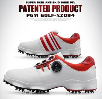 PGM Golf Men's Sneakers Rotating Lace Sneakers Waterproof Non-slip Shoes Detachable Slip Studs and Fixed Studs