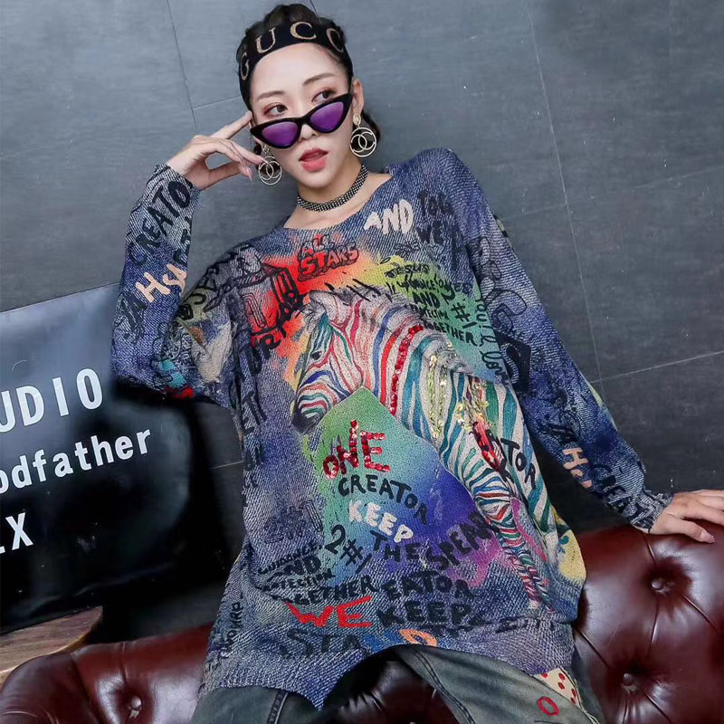 Tide Letter Print Sequin Sweater O-neck Long Sleeve Fashion Loose Casual Plus Size Tops Women 2019 Autumn New Korea