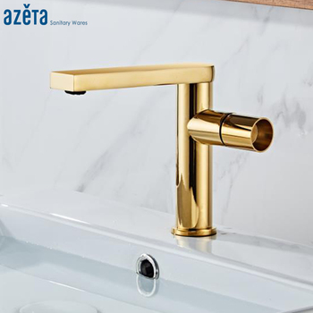 Azeta New Design Bathroom Faucet Gold Brass Basin Mixer Tap Single Handle Basin Sink Tap Hot and Cold Water Basin Faucet AT7306G