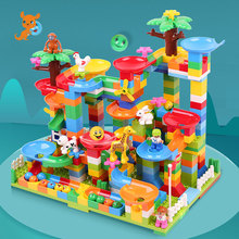 Maze Marble Race Run Building Blocks Sets Construction Big Track Bricks Ball Creative Assembly Slide Learning Toys For Children candice guo plastic toy children block track ball building blocks 74pcs diy maze marble run construction system race deluxe gift