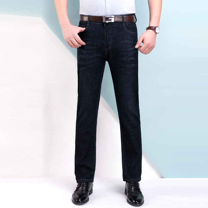 Summer Thin Section MEN'S Jeans High-waisted Elasticity Business Casual Cowboy Trousers Straight-Cut Loose-Fit Middle-aged MEN'S