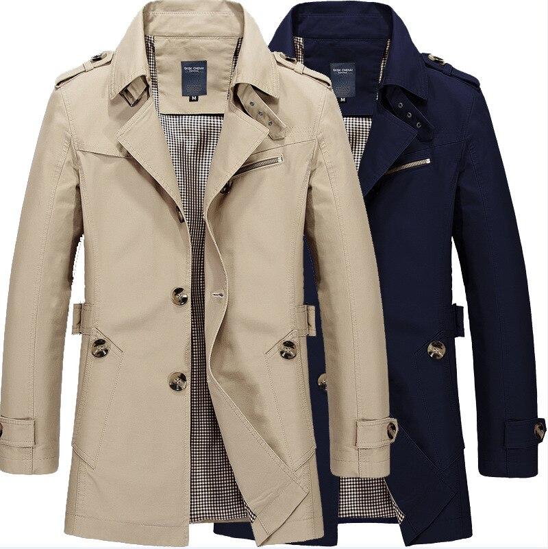 メンズウインドブレーカージャケットファッション秋長綿スリムビジネスオーバーコート男性カジュアル冬の作業トレンチ生き抜くコート