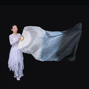 Image 5 - New Arrivals Women Belly Dance Fan Veil Hand Made White Navy Blue Gradient Silk Veil Pairs 180x90cm Girls Women Stage Show Props