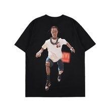 Футболка мужская хлопковая с принтом фигуры Повседневная Свободная