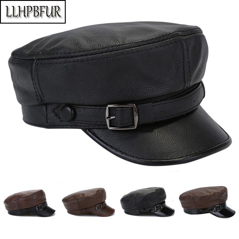 Брендовые мужские и женские головные уборы из натуральной воловьей кожи, осенние и зимние ветрозащитные теплые шапки, уличные плоские военные шапки, Студенческая шапка|Мужские военные шляпы|   | АлиЭкспресс