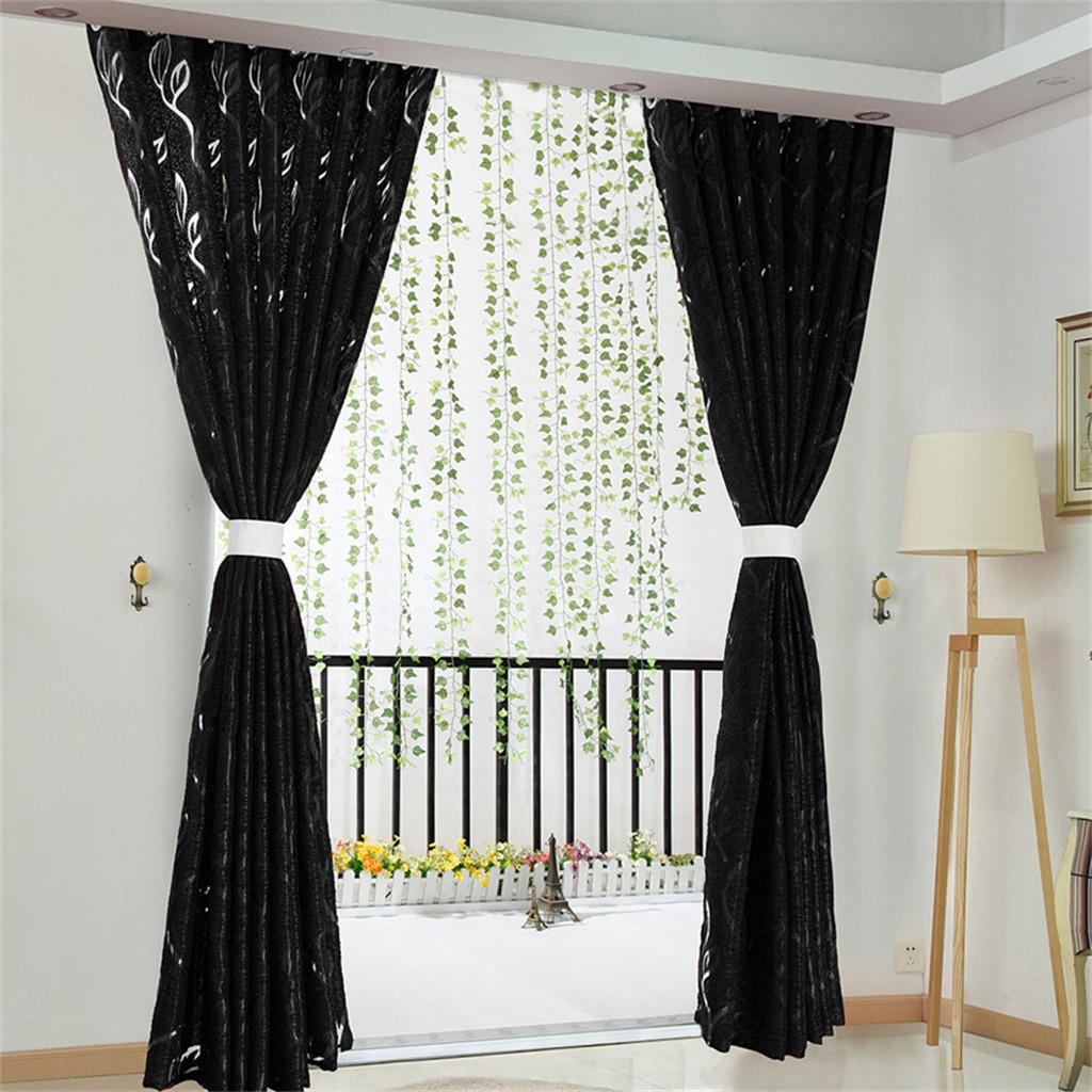 2019 Vines Leaves Tulle Door Window Curtain Drape Panel Sheer Scarf Valances Modern Bedroom Living Room Curtains Sheer Tulle From Huweilan 36 25