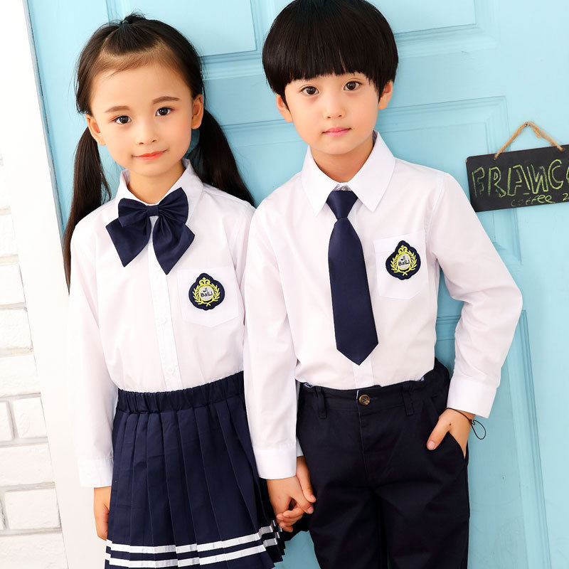 Young STUDENT'S School Uniform Kindergarten Suit 2019 Spring School Uniform Pure Cotton British Style Children Business Attire S