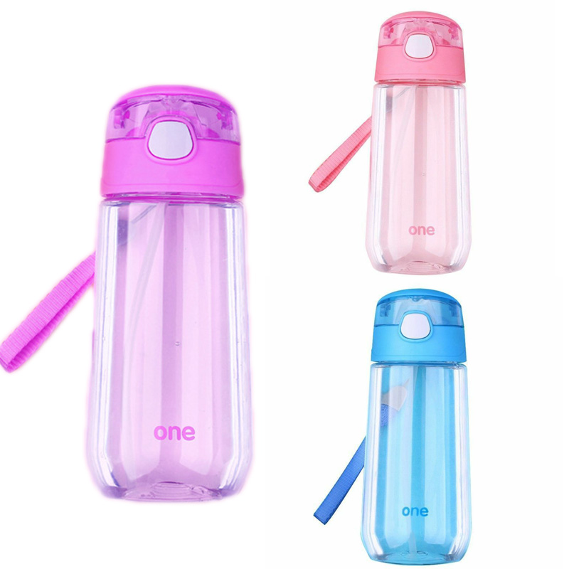 Kids Boys Girls Sport School Drinking Juice Straw Water Bottle Cup Cups 500ML