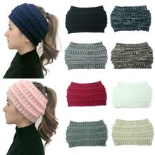 2019 New  Ponytail Beanie Women Stretch Knitted Crochet Beanies Winter Hats For Women Hats Cap Warm Lady Messy Bun Wholesale