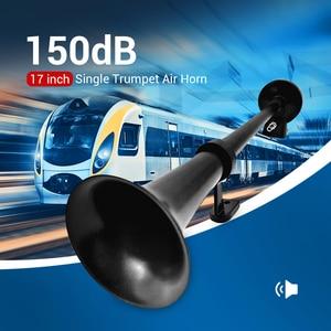 Black 12V Moto Horn Universal 17inch 150DB Loud Car Air Horn 180 Hertz Single Trumpet Compressor Bocina For Trucks Automobiles(China)