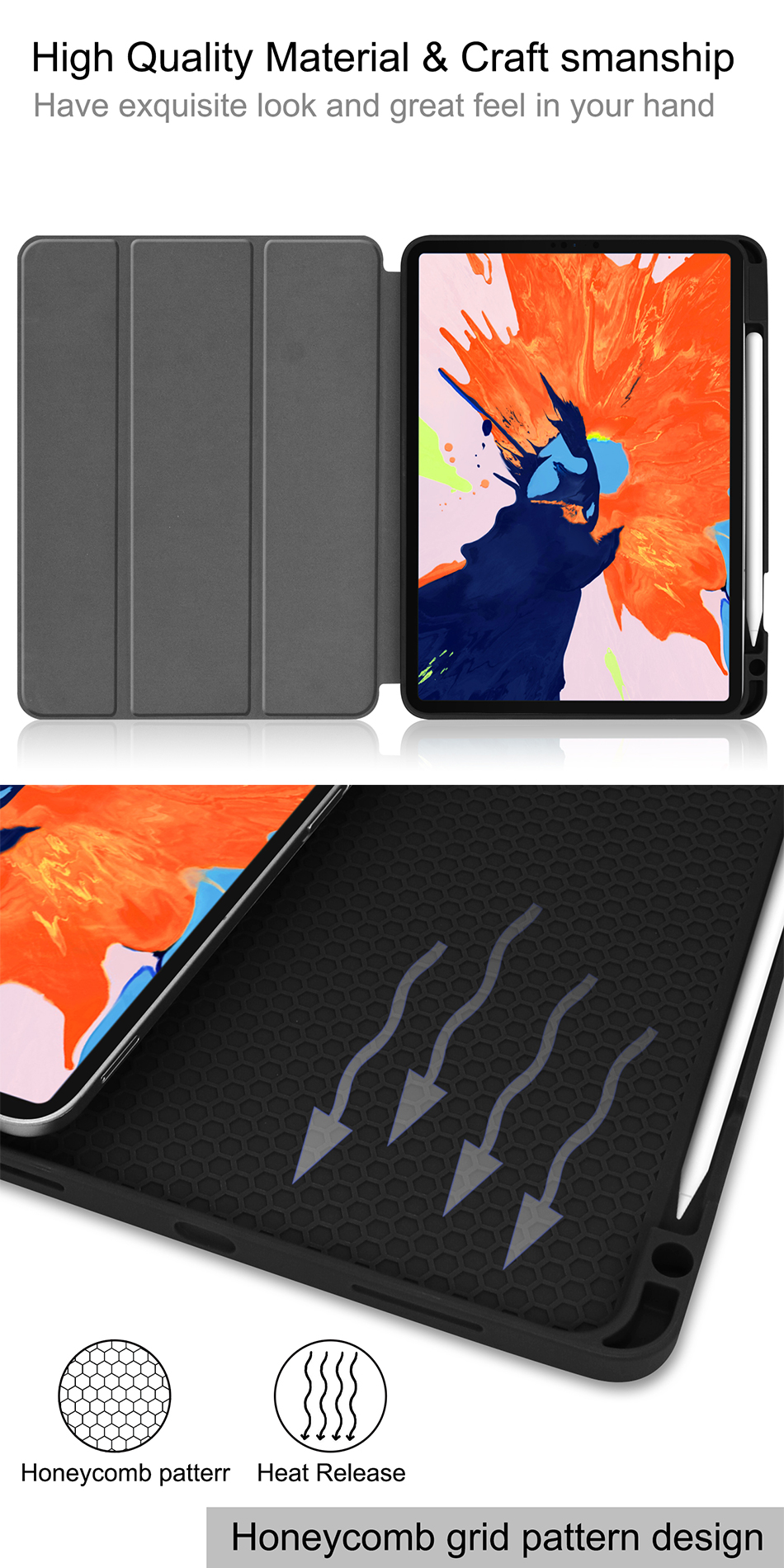 MTT Leather For Soft PU 2020 TPU Pro Back 4th Gen Release A2233 12.9 A2229 iPad Case