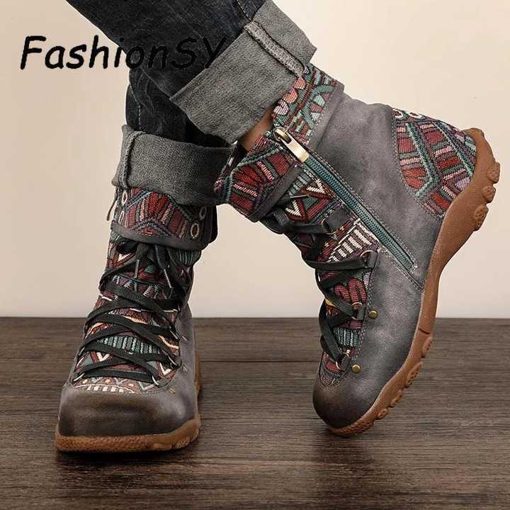الشتاء النساء الأحذية الرجعية الترفيه التطريز خياطة حذاء كاحل برباط الأحذية عبر تعادل مريحة النساء أحذية حذاء مسطح