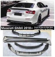 Front Rear Side Skirt Lip Spoilers For Maserati Ghibli 2018 2019 2020 Bumper Diffuser High Quality Carbon Fiber Spoiler