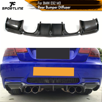 Carbon Fiber / Black FRP Car Rear Bumper Guard Lip Diffuser Spoiler for BMW E92 M3 2007 - 2013 image