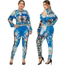 цена на Plus Size XL-4XL Tracksuit 2 Piece Outfits Women Off the shoulder Zipper Top+Pants Autumn Fashion Floral Print Women Set