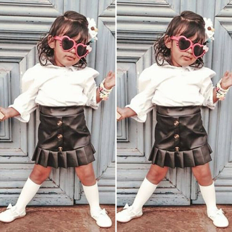 >Fashion New Toddler Baby <font><b>Girls</b></font> Clothes Sets 2Pcs Kids Spring Long Sleeve <font><b>Soft</b></font> Knitted Solid Tops Shirts+Leather Skirt <font><b>Outfits</b></font>