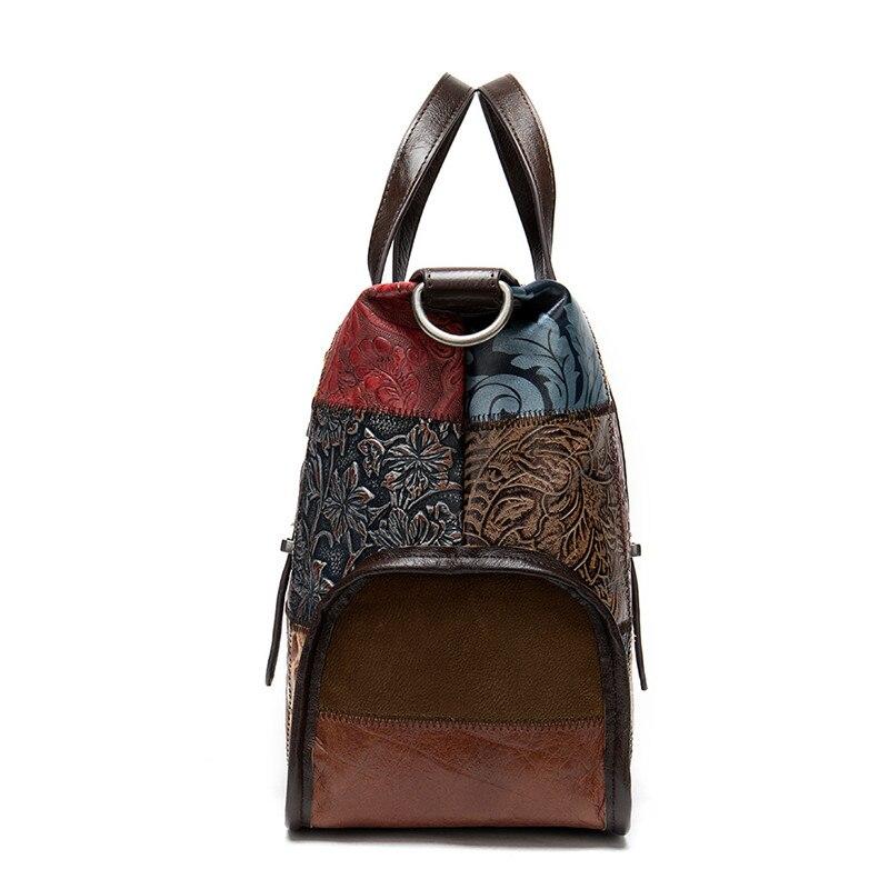 PNDME модная винтажная натуральная кожаная женская сумка дизайнерская строчка высокого качества из мягкой воловьей кожи женские дорожные су... - 2