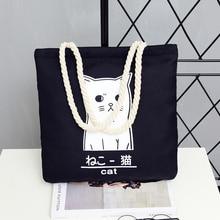 Black Canvas Bag Calico bag women Korean Style Large Capacity Casual Hand Shopper