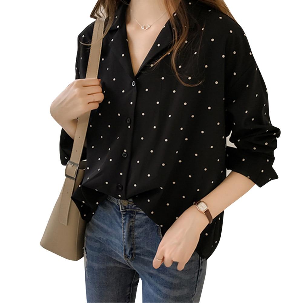 Fashion Womens New Spring Fall Blouses Women Casual Polka Dot Chiffon Shirt Female Long Sleeve Bottoming Shirt