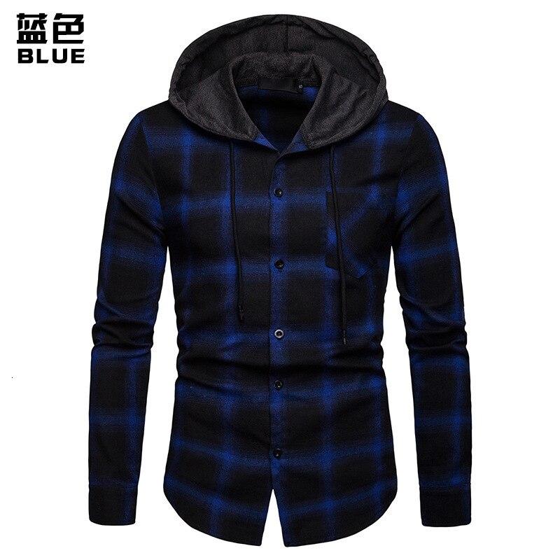 Camisas a cuadros de hombre nueva moda coreana salvaje de manga larga de franela con capucha camisa Casual ajustado Fit más tamaño de algodón ropa de hombre rojo - 4