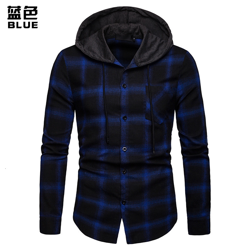 Men Plaid Shirts New Fashion Korean Wild Long Sleeve Flannel Hooded Shirt Casual Slim Fit Plus Size Cotton Men Clothes Red - 4