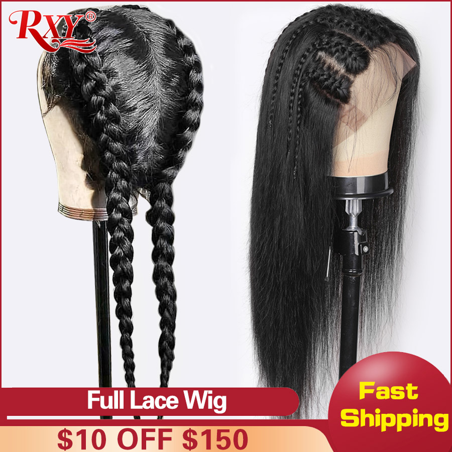 RXY Pre Plucked Full Lace Human Hair Wigs With Baby Hair Brazilian Straight Wig Glueless Full Lace Wigs For Women Remy Lace Wig