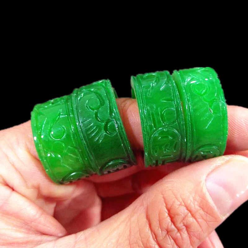 ธรรมชาติสีเขียวหยกสำหรับผู้ชายผู้หญิงแหวนมือขัดหยกมือแกะสลักแกะสลักรูปแบบแหวนหยกมรกตแหวน