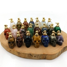 skull pendant natural gems stone Perfume Bottle rose quartzs Essential Oils diffuser crystal vial hand carved charm for necklace rhodonite perfume bottle pendant chakra natural gems stone connector magical medicine bottle pink aroma oil diffuser charm