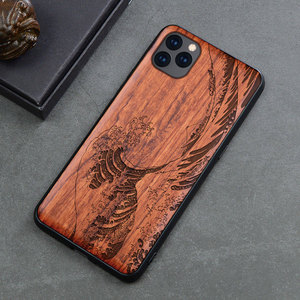 Image 4 - Carved Skull Wood Phone Case For iPhone 7 6 6s 8 plus X XR XS Max iPhone11 iPhone 11 pro Silicon Wooden Case Cover