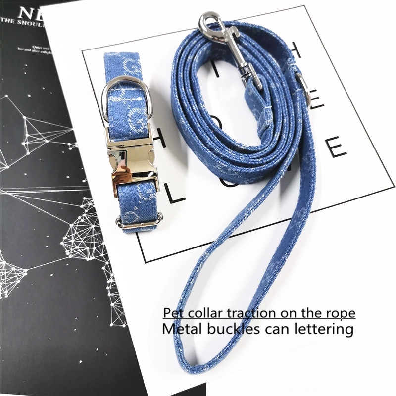 INS Wind New Style Metal Buckle Pet Collar Can Carve Writing Cowboy Dog Haulage Rope Package Pet Supplies