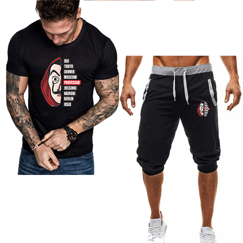 Summer New Selling Men's Sets Brand T Shirts+Short Pants Two Pieces Suits Casual Tracksuit Breathable Fitness Shorts Men Set