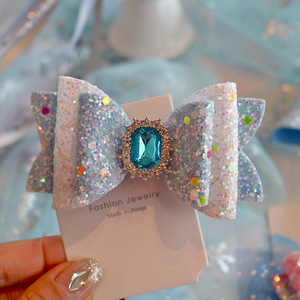 Image 2 - 6pcs/lot Princess Crown Hair Clips Sweet Color Shine Glitter Diamond Hairbows Mesh Decor Hairpin Girls Party Hair Accessories