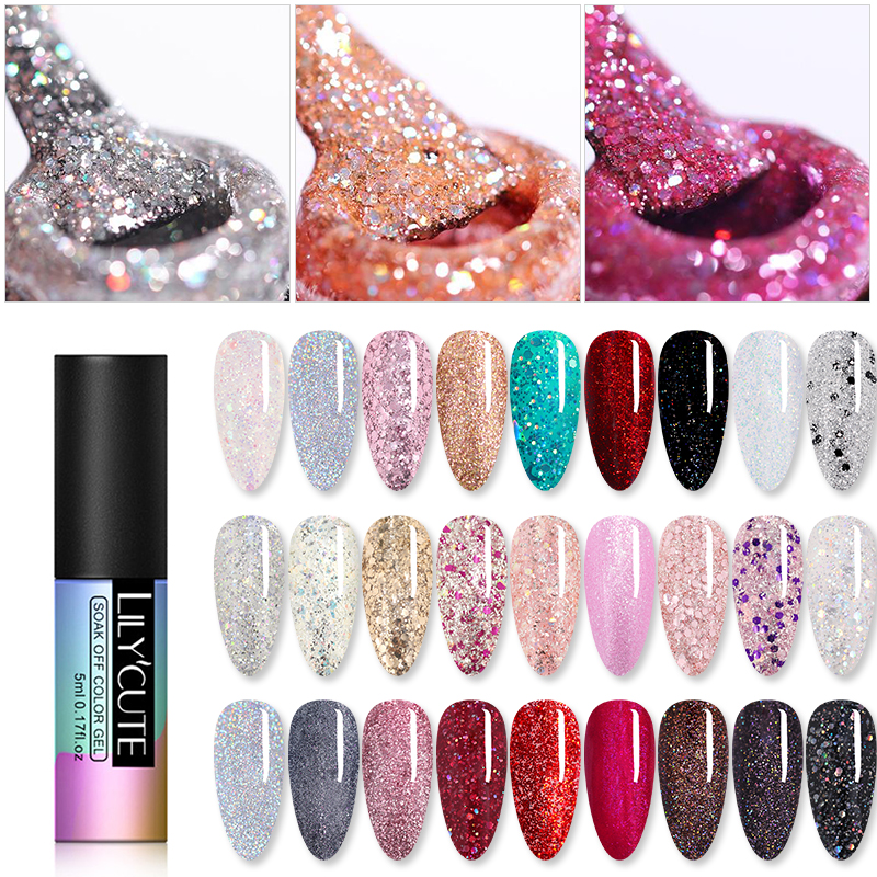 LILYCUTE Glitter Gel Polish Sequins Holographics Semi Permanent Long Lasting Soak Off Gel Polish Varnish Nail Art Gel Varnish|Nail Gel|   - AliExpress