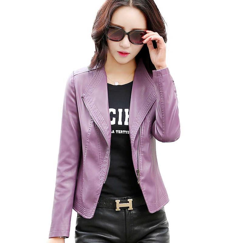 ฤดูใบไม้ผลิฤดูใบไม้ร่วง Faux เสื้อแจ็คเก็ตผู้หญิงเกาหลี PU หนัง Casual สีม่วง Abrigo Mujer A170 Pph565