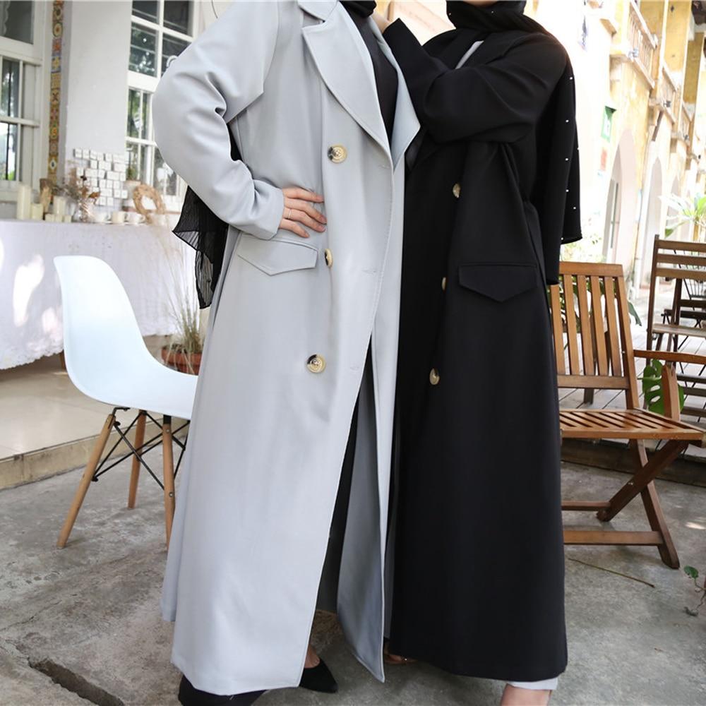 New Fashion Women Long Turn-down Trench Coat Thick Peacoat Duster Muslim Maxi Abaya Kimono Kaftan Robes Islamic Clothing Outwear