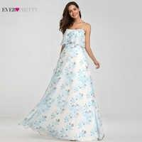Vestidos De Noche siempre bonitos elegantes vestidos largos De una línea De hombro estampado Floral Chiffon vestidos De fiesta formales mujeres Robe De Soiree 2019