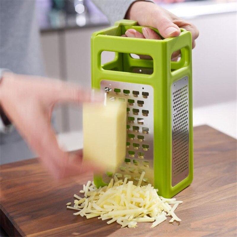 Nouveau 4 côtés râpe rasoir Gadgets De Cuisine pliable déchiqueteuse fromage trancheuse plat grossier Fine ruban lames Outils De Cuisine