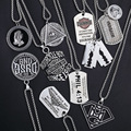 2021 new fashion demon eye hip-hop rock jewelry men and women stainless steel hip-hop necklace Army card pendant