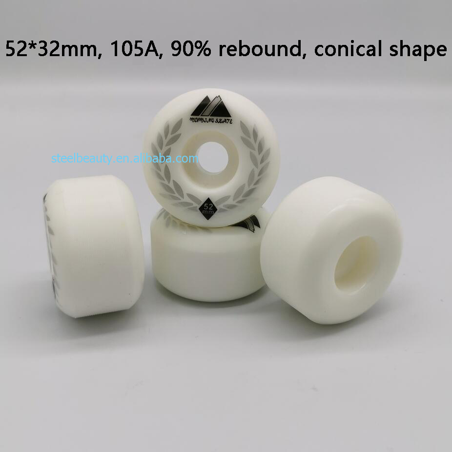 High End Quality Conical And Round Surface Skateboard Wheels 52mm Skate Wheel 105A 90% Rebound