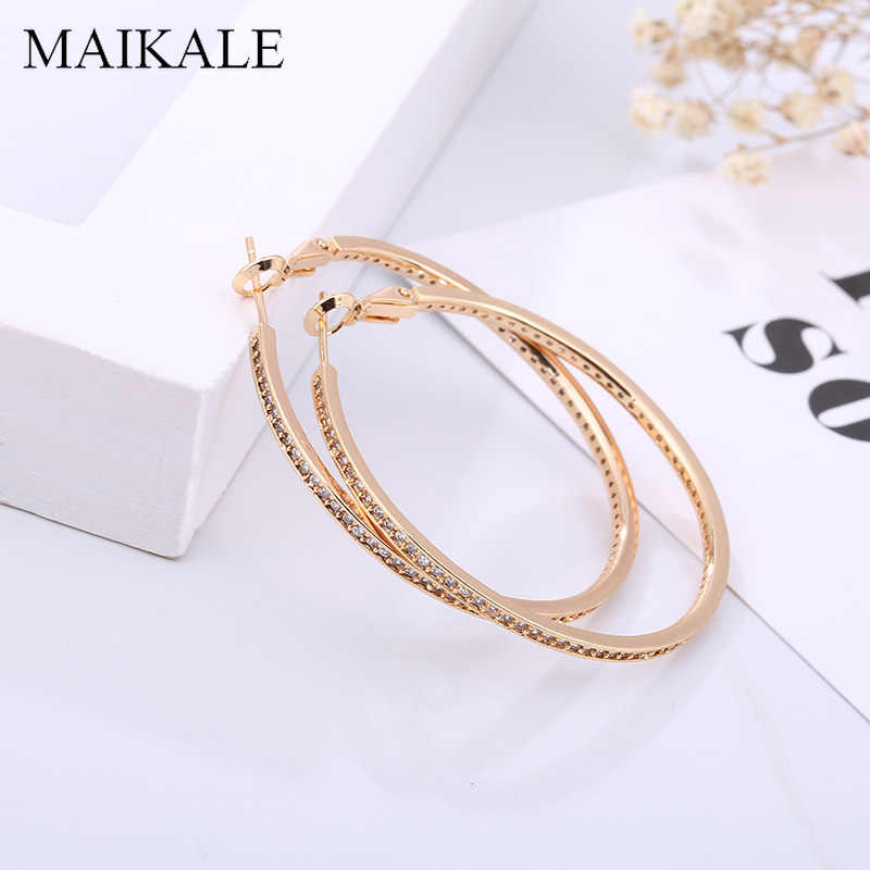 MAIKALE Luxury 5.5/6.5cm Big Hoop Earrings for Women Gold Silver Color Large Circle Cubic Zirconia Earrings Fashion Jewelry Gift