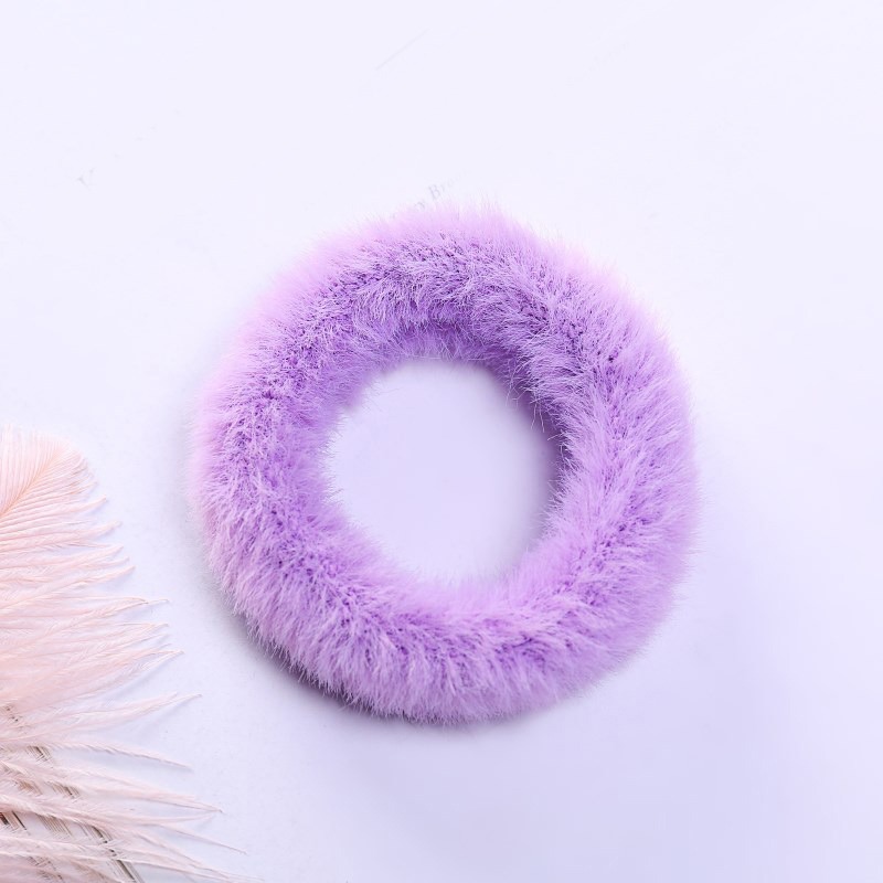 1 мягкий пушистый искусственный мех, пушистый благородный, новинка, шикарные резинки для волос, эластичное кольцо для волос, аксессуары, эластичные розовые резинки для волос - Цвет: 38